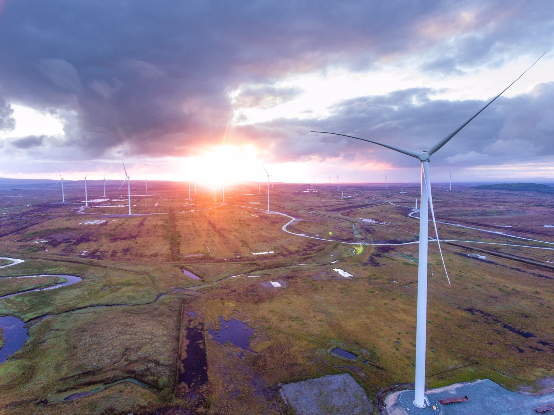 Aerial shot of the Oweninny wind farm site taken at dawn on June 28 last.
