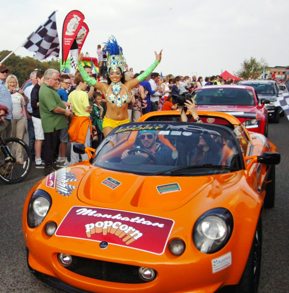 A Lotus car arrives in Ballina's Quay Village during the 2014 Cannonball Ireland event.
