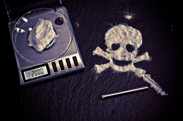 Cocaine scales and powder-formed skull image