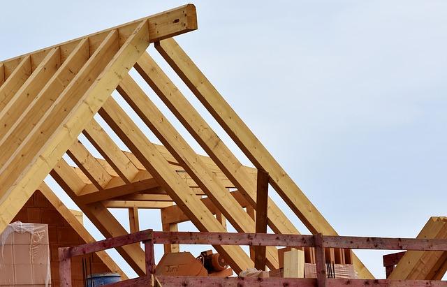Roof truss under construction