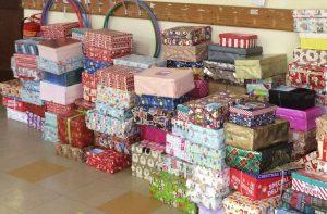 Gift-filled shoeboxes