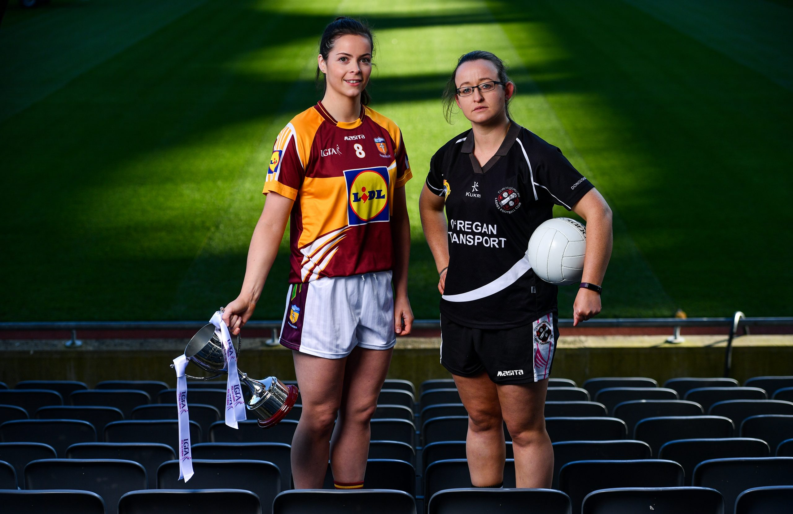 Captains, Marie Larkin of CL MacHale Rovers, left, and Eileen Lyons of Donoughmore,