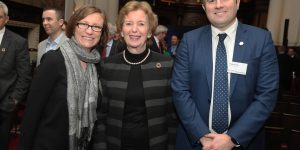Mary Robinson with Ballina Chamber of Commerce members, Mags Downey and Hugh Rouse.