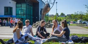 Students on campus at IT Sligo.