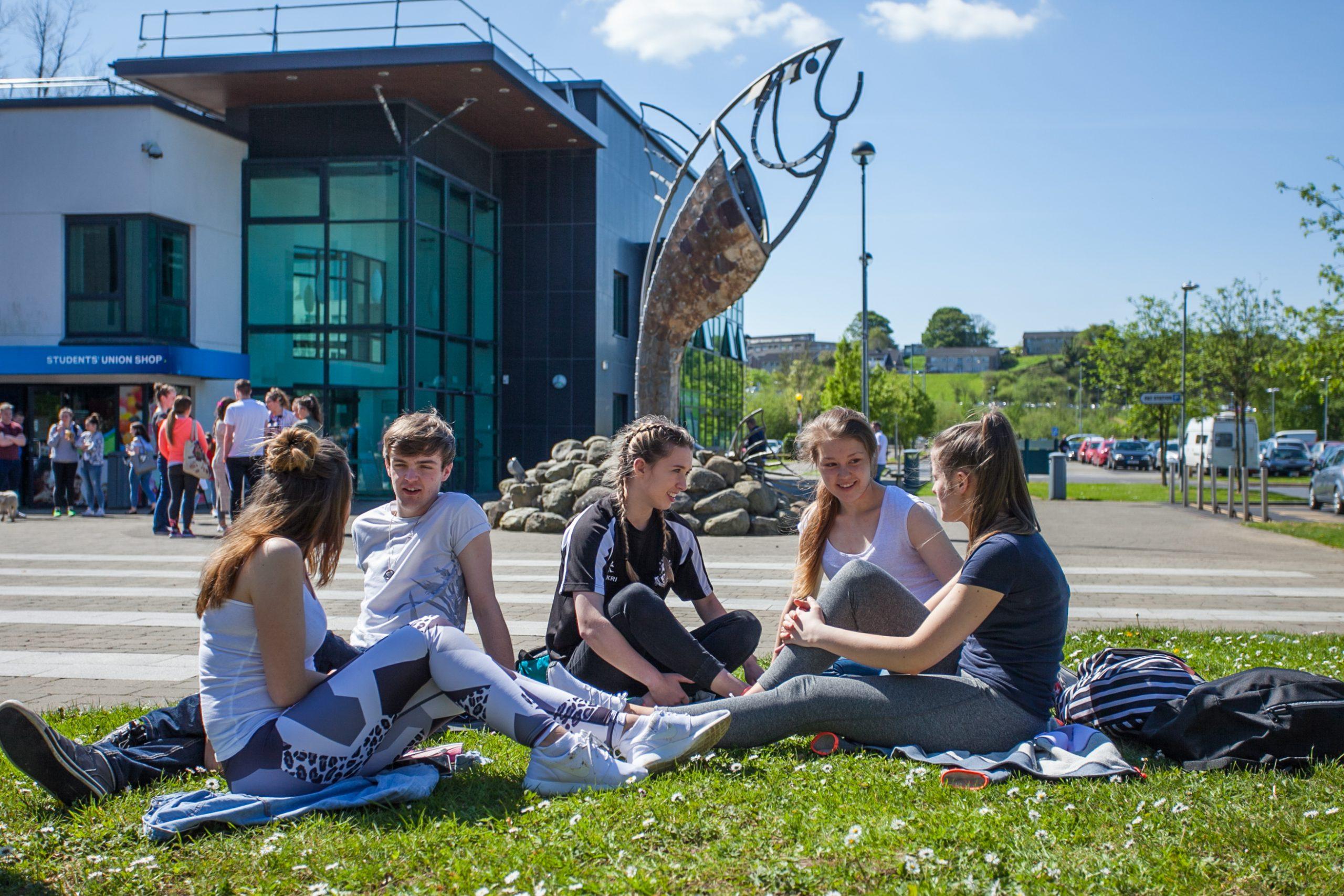 Students on campus at IT Sligo.