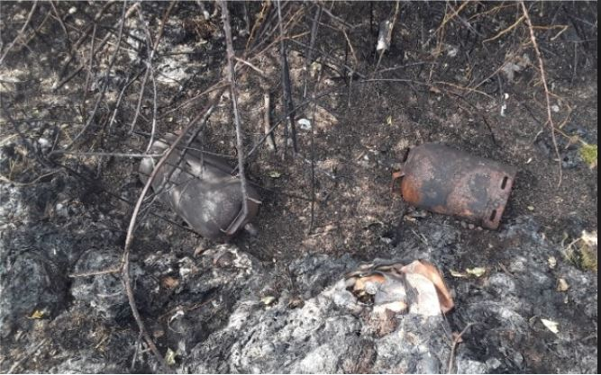 The dumped gas cylinders were found in undergrowth at the scene of recent gorse fires in west Sligo.