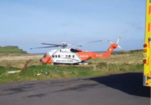 The Rescue 118 helicopter prepares to depart for Galway University Hospital from Kilcummin Head with the diving casualty yesterday, Sunday, October 10 last.